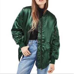 Topshop longline satin bomber jacket NWOT